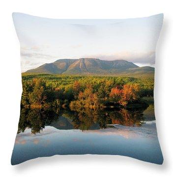 Maines Mount Katahdin And The Penobscot Throw Pillow