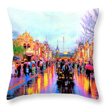 Throw Pillow featuring the photograph Mainstreet Disneyland by David Lawson