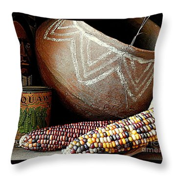 Pottery And Maize Indian Corn Still Life In New Orleans Louisiana Throw Pillow by Michael Hoard