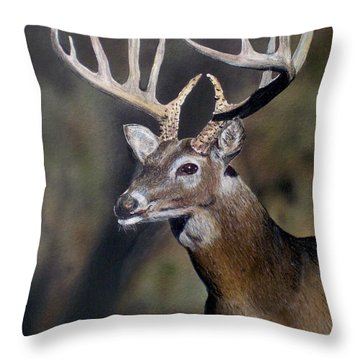 Majestic Buck Throw Pillow by Todd Spaur