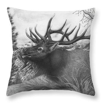 Majestic Bull Elk Throw Pillow