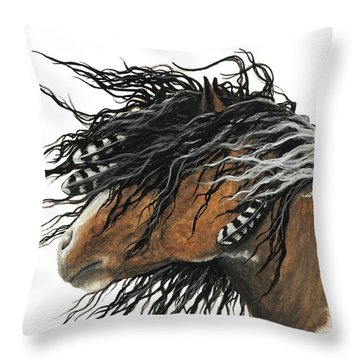 Majestic Curly Horse Throw Pillow