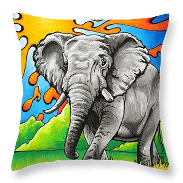 Majestic Elephant Throw Pillow