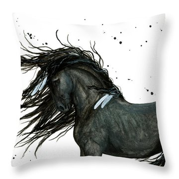 Majestic Friesian Horse 112 Throw Pillow by AmyLyn Bihrle