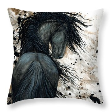 Majestic Friesian Horse 123 Throw Pillow