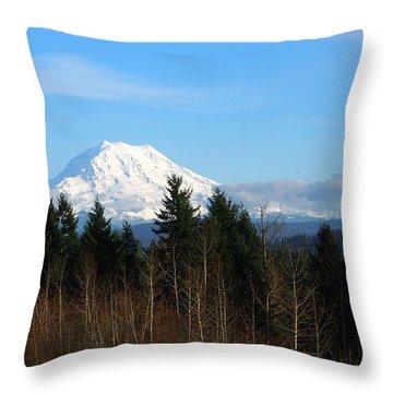 Majestic Mount Rainier Throw Pillow