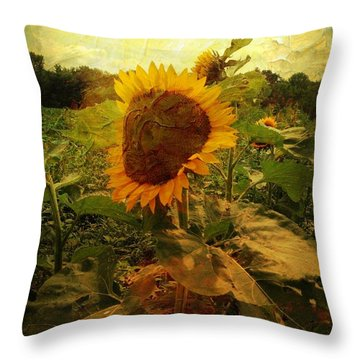 Majestic Sunflower  Throw Pillow