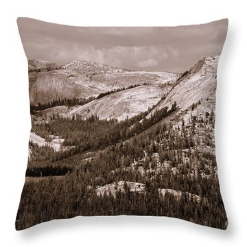 Throw Pillow featuring the photograph Majesty Mountains Sepia  by Mary Lou Chmura