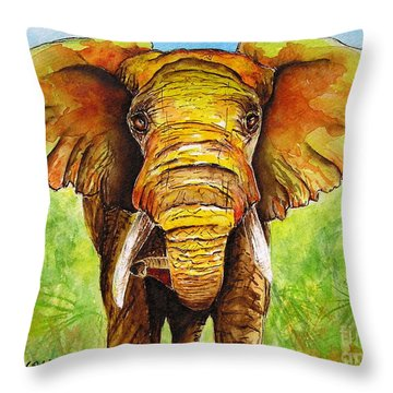 Throw Pillow featuring the painting Major Domo by Diane DeSavoy