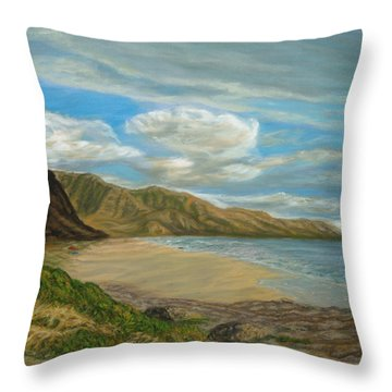 Makaha Beach Throw Pillow