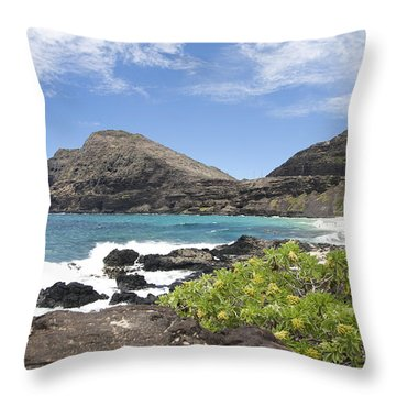 Makapuu Beach Throw Pillow by Brandon Tabiolo
