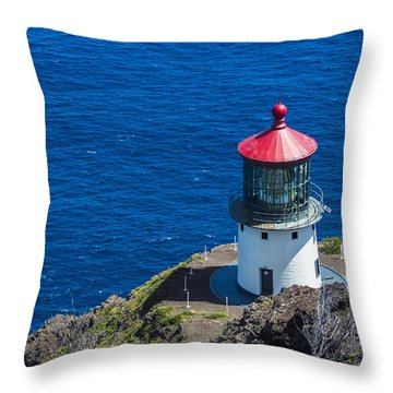 Makapuu Lighthouse 3 Throw Pillow by Leigh Anne Meeks