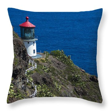 Makapuu Lighthouse2 Throw Pillow by Leigh Anne Meeks