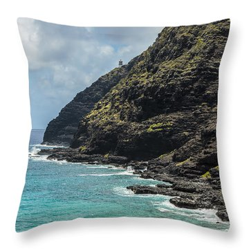 Makapuu Point 1 Throw Pillow by Leigh Anne Meeks
