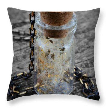 Make A Wish - Dandelion Seed In Glass Bottle With Gold Fairy Dust Necklace Throw Pillow
