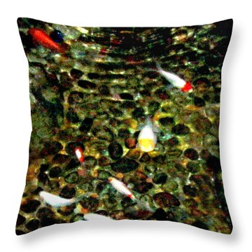 Make A Wish Koi Fishes Throw Pillow by Danielle  Parent