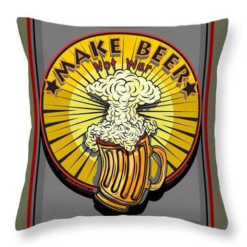 Make Beer Not War Pop Art Throw Pillow