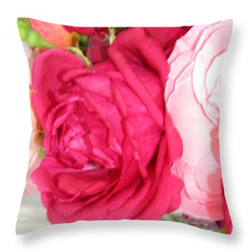 Throw Pillow featuring the photograph Make Mine Pink Roses by Margaret Newcomb