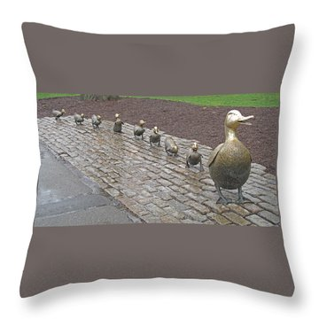 Make Way For Ducklings Throw Pillow by Barbara McDevitt