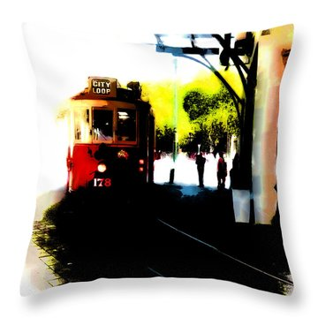 Make Way For The Tram  Throw Pillow by Steve Taylor