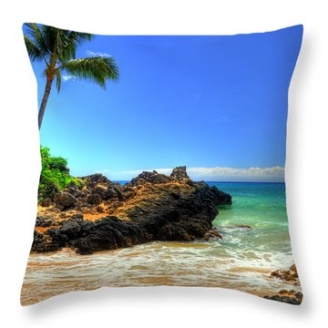 Makena Secret Cove Paako Beach Throw Pillow
