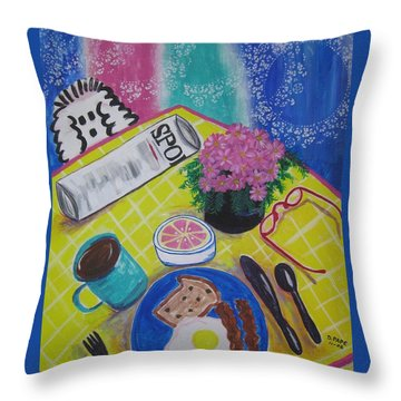 Throw Pillow featuring the painting Makin' His Move by Diane Pape