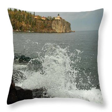 Throw Pillow featuring the photograph Making A Splash At Split Rock Lighthouse  by James Peterson