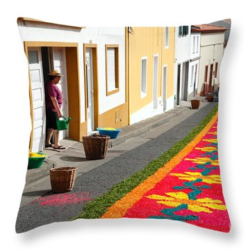 Making Flower Carpets Throw Pillow by Gaspar Avila