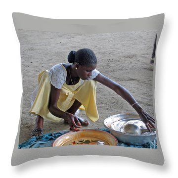 Making Lunch Dakar Senagal Throw Pillow