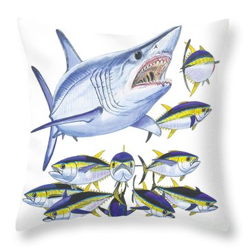 Mako Attack Throw Pillow by Carey Chen