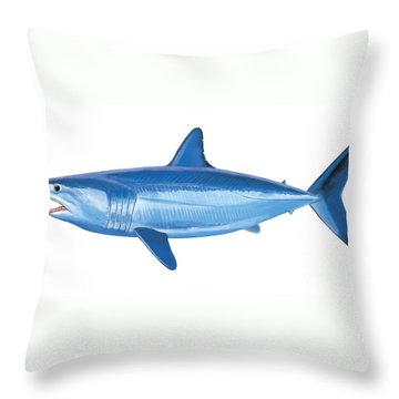 Mako Shark Throw Pillow by Carey Chen