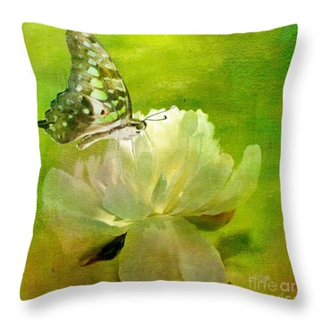 Malachite On Peony Throw Pillow by Lois Bryan