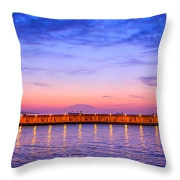 Malaga Pink And Blue Sunrise  Throw Pillow by Debra Martz