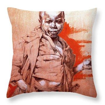 Malawi Child Sketch Throw Pillow by Derrick Higgins