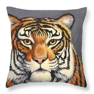 Throw Pillow featuring the painting Malayan Tiger Portrait by Penny Birch-Williams