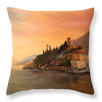 Malcesine Lake Garda Italy Throw Pillow