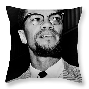 Malcolm X Throw Pillow by Benjamin Yeager