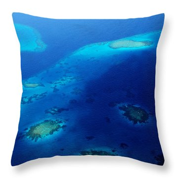 Maldivian Reefs. Aerial Journey Over Maldivian Archipelago Throw Pillow by Jenny Rainbow