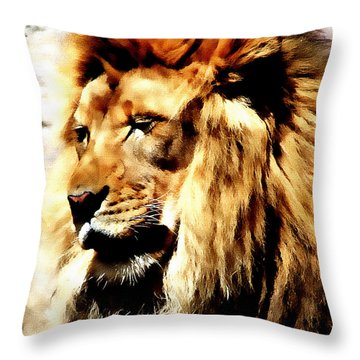 Male African Lion Throw Pillow