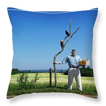 Male Box Man Throw Pillow by Edward Fielding