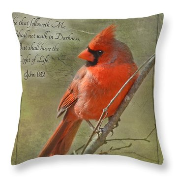 Male Cardinal On Twigs With Bible Verse Throw Pillow by Debbie Portwood