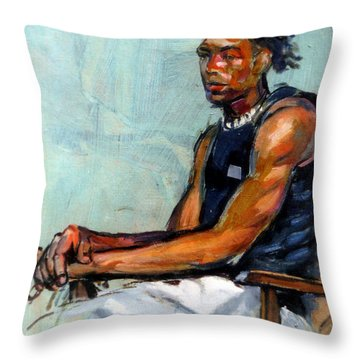 Male Figure Sitting Throw Pillow by Stan Esson
