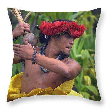 Male Hula Dancer With Small Gourd Instrument Throw Pillow