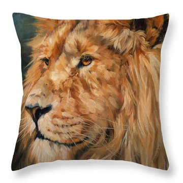 Male Lion Throw Pillow by David Stribbling