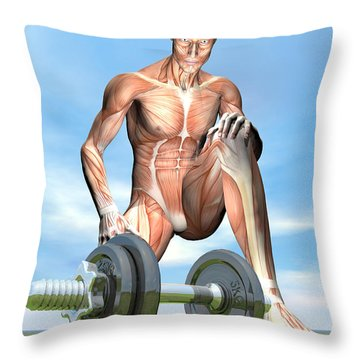 Male Musculature Looking At A Dumbbell Throw Pillow