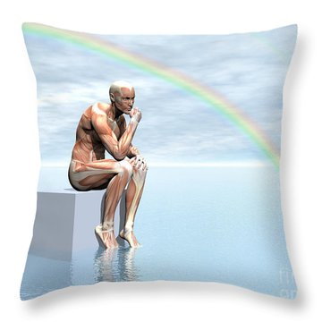 Male Musculature Sitting On A Cube Throw Pillow