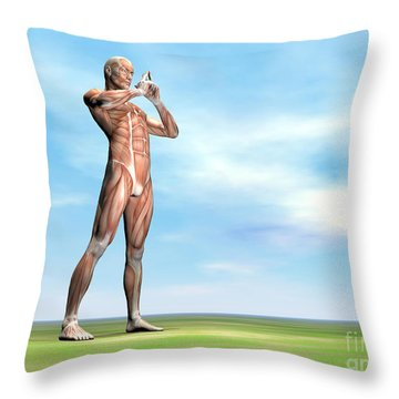 Male Musculature Standing On The Green Throw Pillow by Elena Duvernay