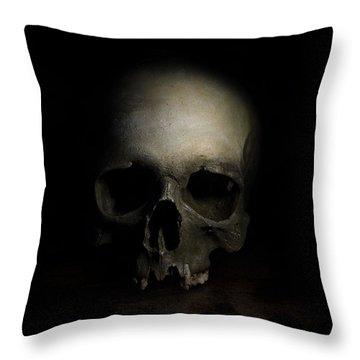 Male Skull Throw Pillow by Jaroslaw Blaminsky