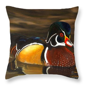Male Wood Duck Portrait Throw Pillow