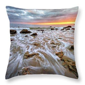 Malibu Beach Sunset Throw Pillow by Charline Xia